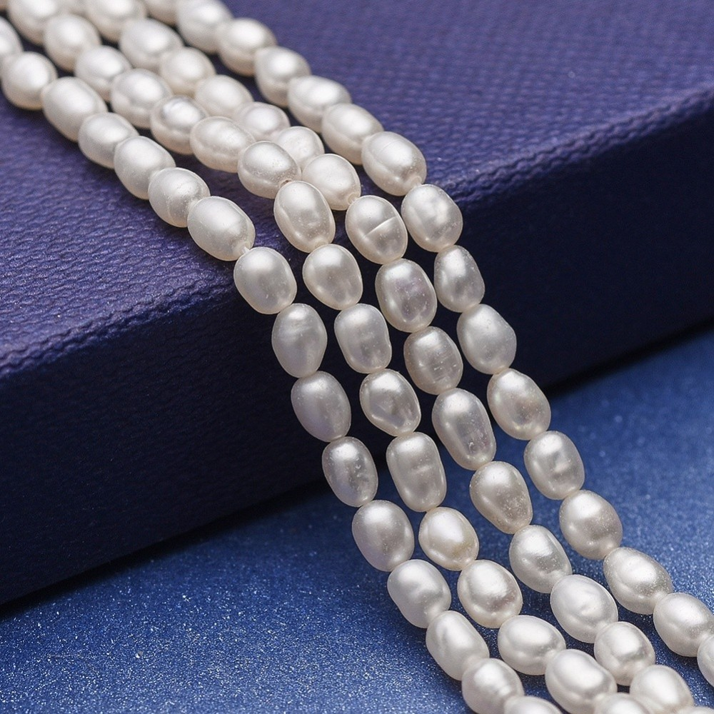 1 Strand White Natural Cultured Freshwater Pearl Beads Bracelet Necklace jewelry DIY making Strands Decor Accessories
