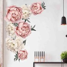 Пион роза цветы стены Стикеры Art детские наклейки для детской домашнего декора подарок муур Стикеры s в детском саду kamers наклейки наклейки на стену