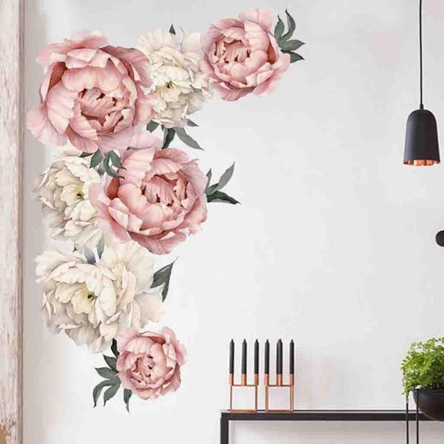 Peony Roseดอกไม้สติ๊กเกอร์ติดผนังArt Decalsเนอสเซอรี่Kids Room Home DecorของขวัญMuurstickersเด็กKamers Decals
