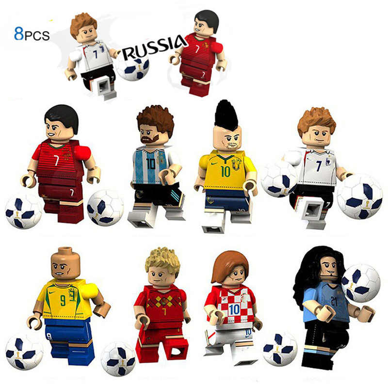 2018 World Football soccer team figure Ronaldo Lionel Messi Neymar Beckham assembling building blocks toys