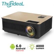Thundeal hd projetor td86 4000 lúmen android 6.0 wifi bluetooth projetor suporte completo hd 1080 p led m5 m5w 3d projetor de vídeo