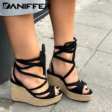 New Women Summer Wedge Sandals Open Toe High Heels Platform Shoes Female Casual Beach Bandage Ankle Cross-tied Strap Shoes women sandals 2017 summer new open toe fish head fashion platform high heels wedge sandals female glitter sweet shoes