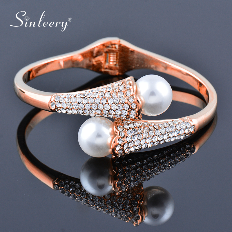 SINLEERY Luxury Big Pearl Crystal Cuff Open Bangle Rose Gold Silver Color Wedding Bracelets Women Fashion Jewelry SL470 SSF|Bangles|   - AliExpress