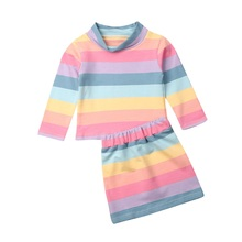 1-6Years Rainbow Toddler Baby Kid Girl Clothing Set Long Sleeve Striped Tops + Skirts Outfits Cute Girls Autumn Spring Costumes