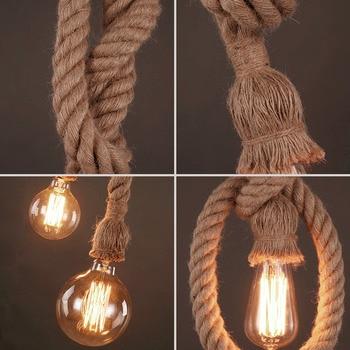 Hemp Rope Pendant Lights Vintage Retro Hanging Lamp E27 AC 85-265V Industrial Decor Home Restaurant Pendant Lamp Edison Hanglamp 6