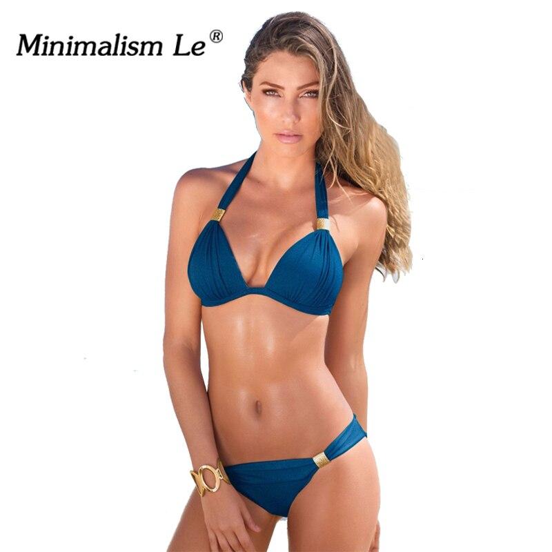 Minimalism Le Sexy Halter Top Bikini 2020 Women Swimwear Bathing Suits Push Up Swimsuit Bikini Set Maillot De Bain Biquini 1