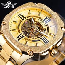 Winner Golden Automatic Mechanical Male Wristwatch Square Royal Roman Hollow Dial Stainless Steel Strap Men Business Watch Clock стоимость