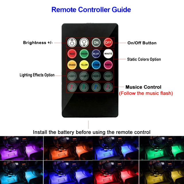 Car Interior Atmosphere LED RGB Strip Light Dash Floor Foot RGB LED Strip Decorative Light Music sound Control Multiple lighting 3