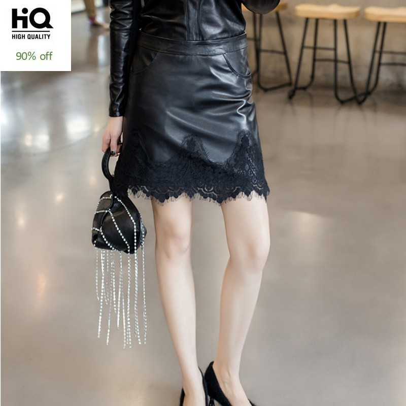 Spring New Sexy Women Slim Fit Lace Wrap Mini Skirt Summer A Line Korean Sheepskin Genuine Leather Office Ladies Bodycon Skirts