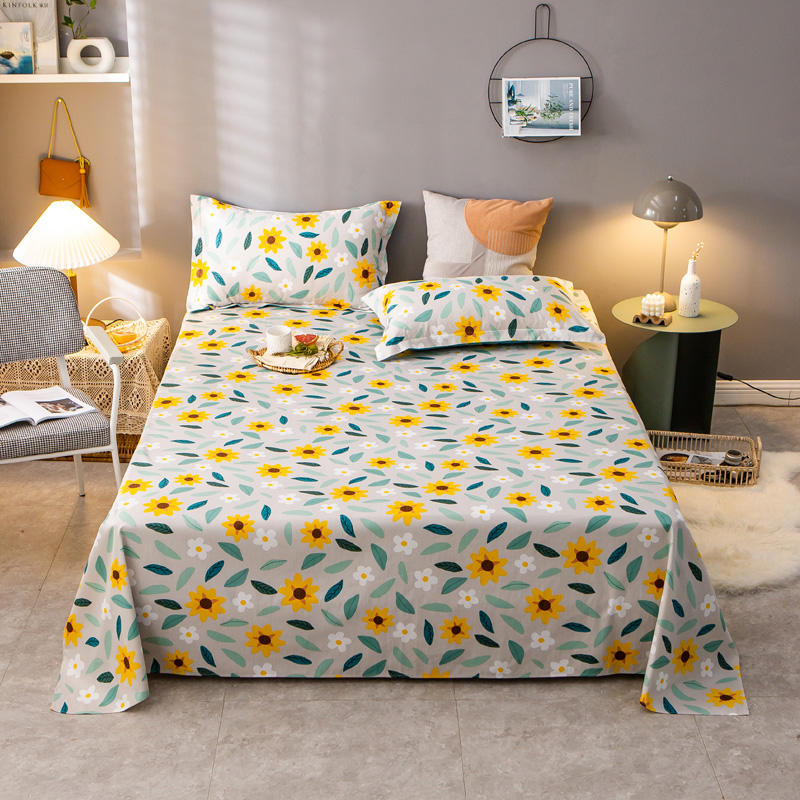 Bonenjoy 1 pc 100% Pure Cotton Bedding Sheet For Double Bed Flower Pattern Queen King Size funda nordica cama Flat Sheets