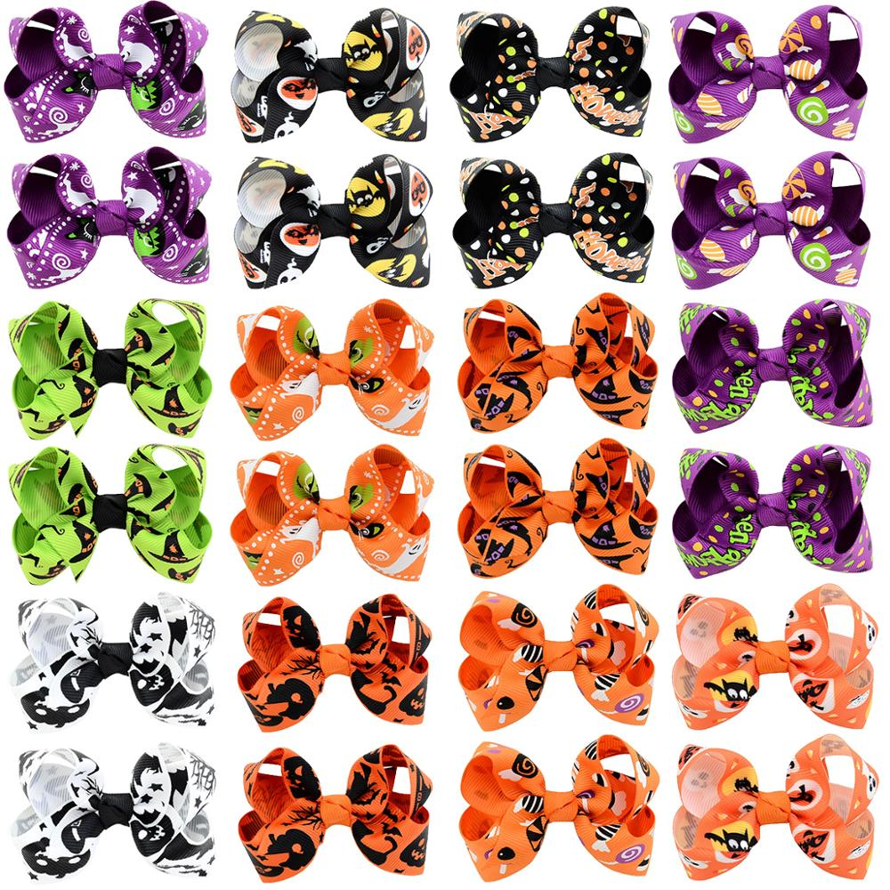 24PCS Halloween Hair Bows With Grosgrain Robbin Ghost Pumpkin Pattern Hair Accessories For Baby Girls Toddlers Kids In Pairs