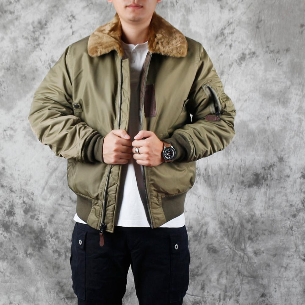Plus Size Man B15 Flight Jacket Classic Casual Winter Warm Wool Collar Coat Thicker Cotton Jackets Quality Sales