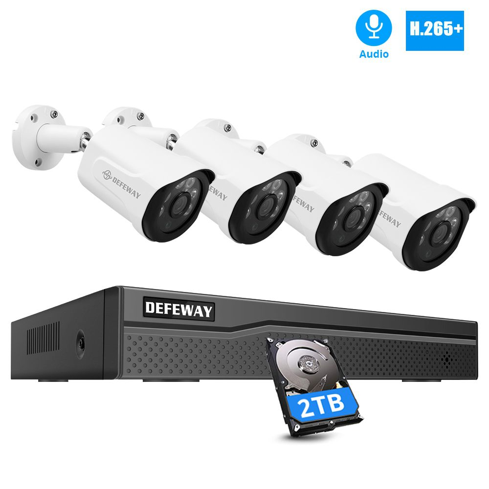 DEFEWAY 3.0MP 8CH NVR POE Video Surveillance Kit with Audio H.265+ CCTV System 4PCS POE IP Camera Indoor/Outdoor Night Vision