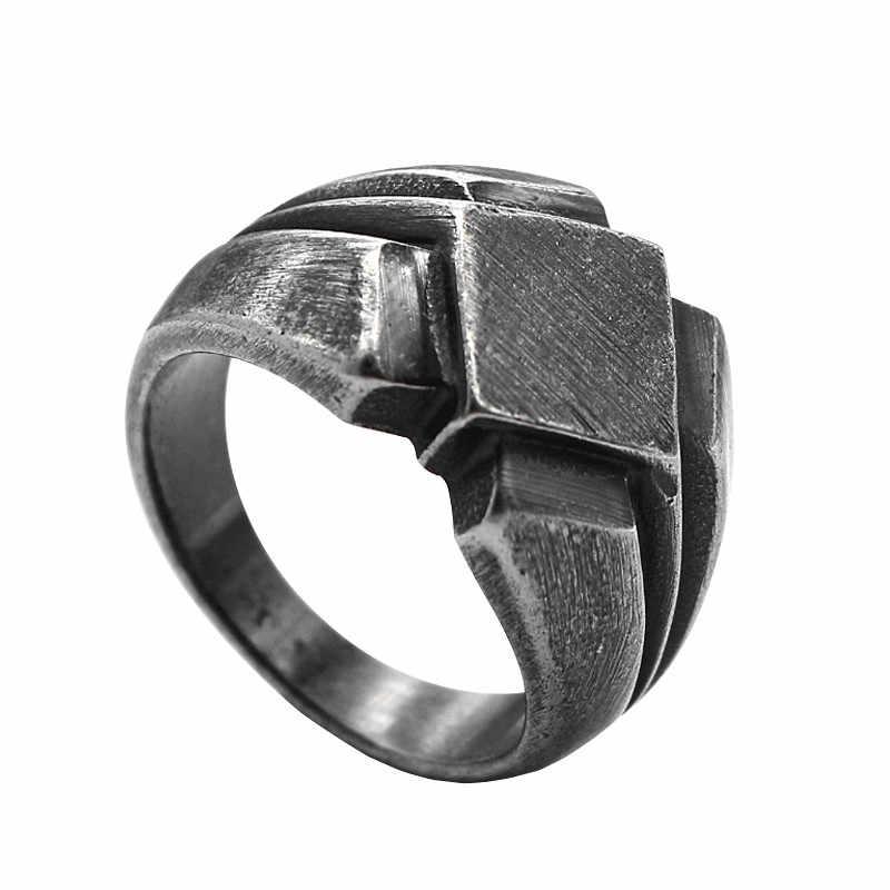 KLDY mężczyźni pierścień ze stali nierdzewnej Nordic pierścień vintage antyczny czarny skandynawski pierścień stal Nordic party biżuteria 2019 anillo nordico