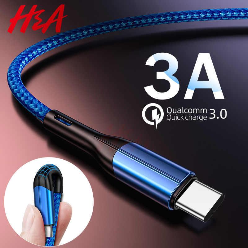H & A USB نوع C كابل ل xiaomi redmi k20 برو الهاتف المحمول كابل 3.0A شحن سريع لل USB نوع -C الأجهزة