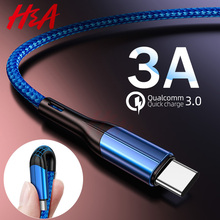 H&A USB Type C Cable For xiaomi redmi k20 pro Mobile Phone Cable 3.0A Fast Charging for USB Type C Devices