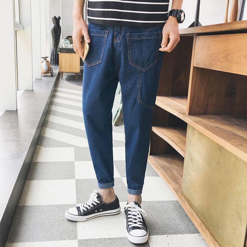 2017 Winter Trend Skinny Pants Loose-Fit Anti-Multi-pockets Trousers MEN'S Jeans