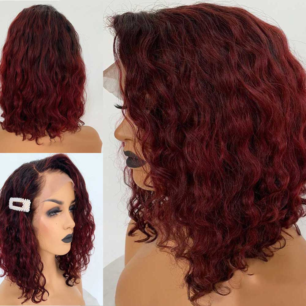 Wavy 13x6 Lace Front Human Hair Wig Pre Plucked Brazilian Remy Short Bob 1b/99J Burgundy Colored Wig With Baby Hair 150 Density