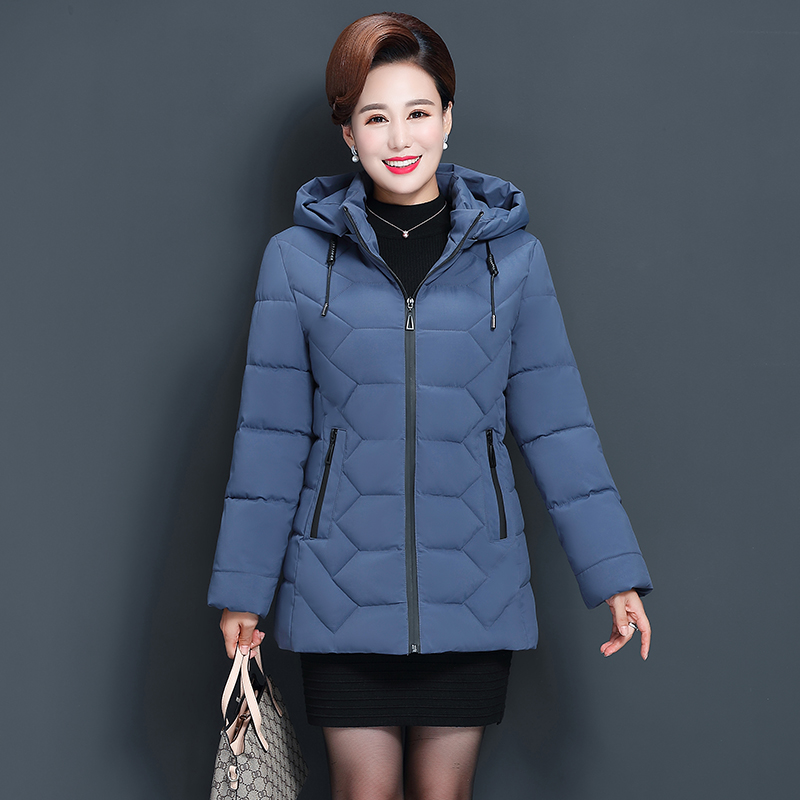 Plus Size 5XL Middle-aged Women Winter Short Jacket 2019 Hooded Cotton Coat Women Thick Casual Mother Winter Jacket Women   Parka