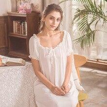 Женская ночная сорочка с бантом и кружевом, белая