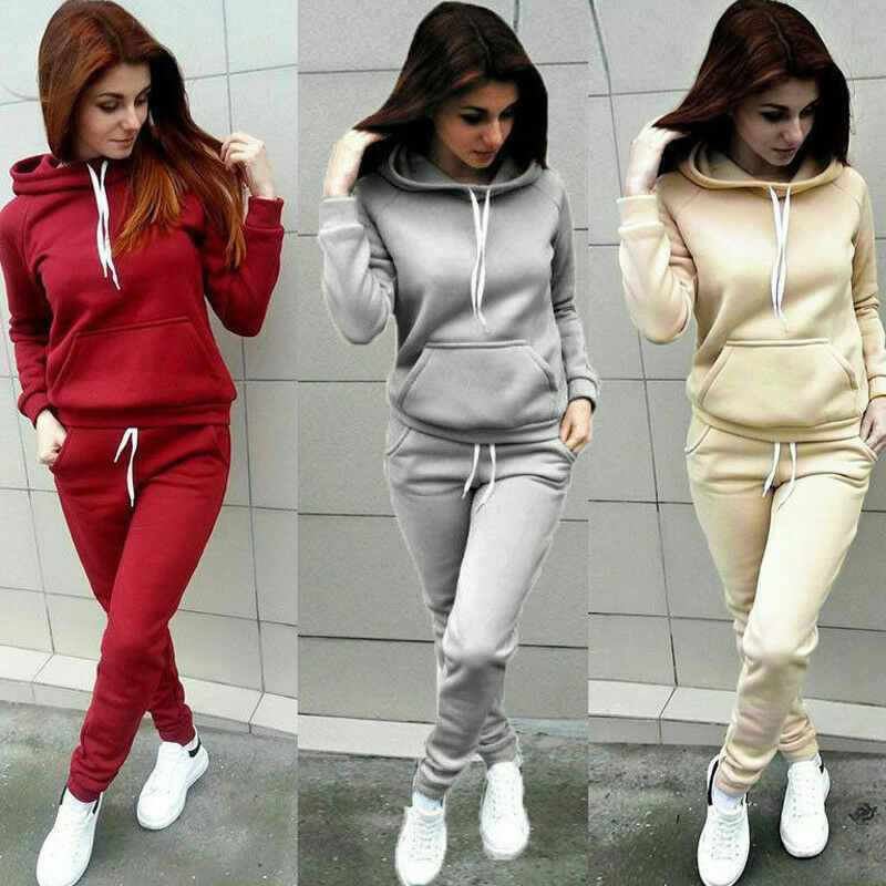 2020 Autumn Winter 2 Piece Set Women Hoodie Tops Pants Tracksuit Pullover Sweatshirt Trousers With Pockets Tracksuit Suits