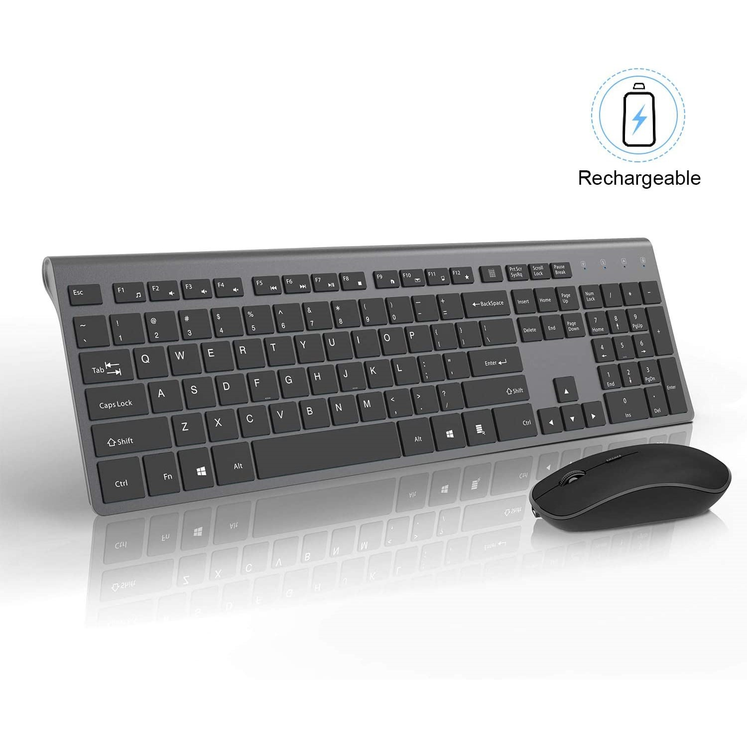 2.4GHz Rechargeable Wireless Keyboard and Mouse Combo French/Spanish/Italian Full Size Keyboard Mouse set,For Desktop/Laptop