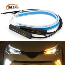OKEEN 2x ультратонкие автомобили DRL светодиодный дневные ходовые огни белый указатель поворота желтый направляющая полоса для сборки фар Прямая поставка