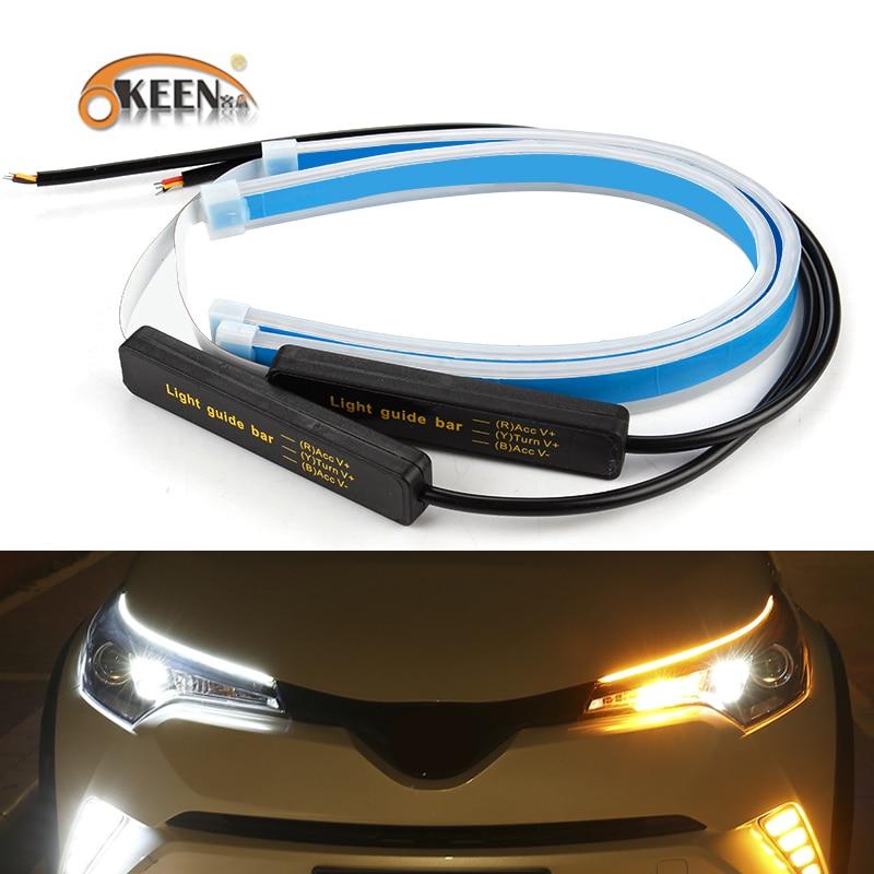 OKEEN 2x voitures ultrafines DRL LED feux de jour blanc clignotant jaune bande de guidage pour assemblage de phares livraison directe