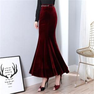 Image 5 - קטיפה בת ים חצאיות לנשים בתוספת גודל 5XL חורף ארוך חצאית עם חגורה נשי סתיו אלגנטי שחור קטיפה מקסי חצאית ds50163