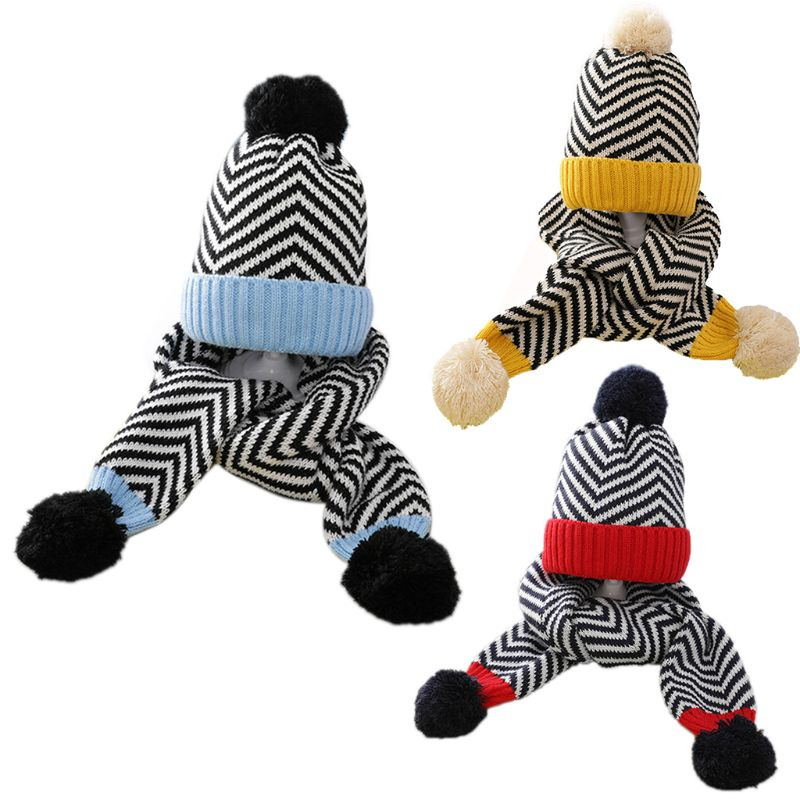 Kids Baby Crochet Knit Wavy Stripes Cuffed Beanie Hat Cute Pompom Long Scarf Set 35EF