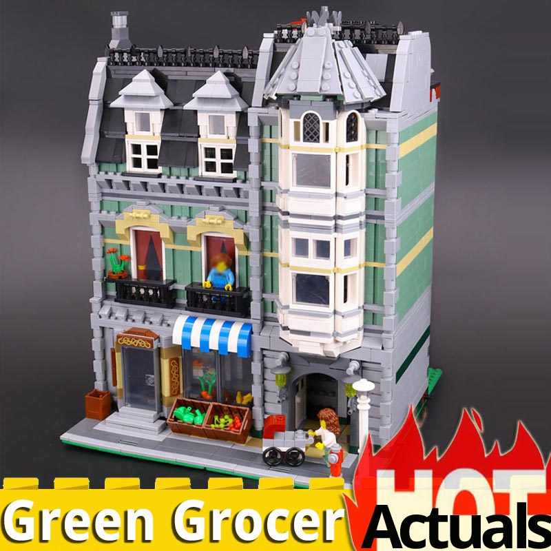 City architecture <font><b>15008</b></font> Green <font><b>Grocer</b></font> Model set Building Blocks Bricks Toys for children Christmas legoinglys Creator house 10185 image