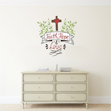 Faith Hope Love Wall Decals Bible Verse Stickers Cross and Flowers Easy Peel Stick Art Living Room Decoration