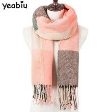 YEABIU Модный зимний женский шарф, клетчатый теплый шарф для женщин, шерстяные шарфы, шарфы на каждый день, кашемировая Женская шаль, одеяло
