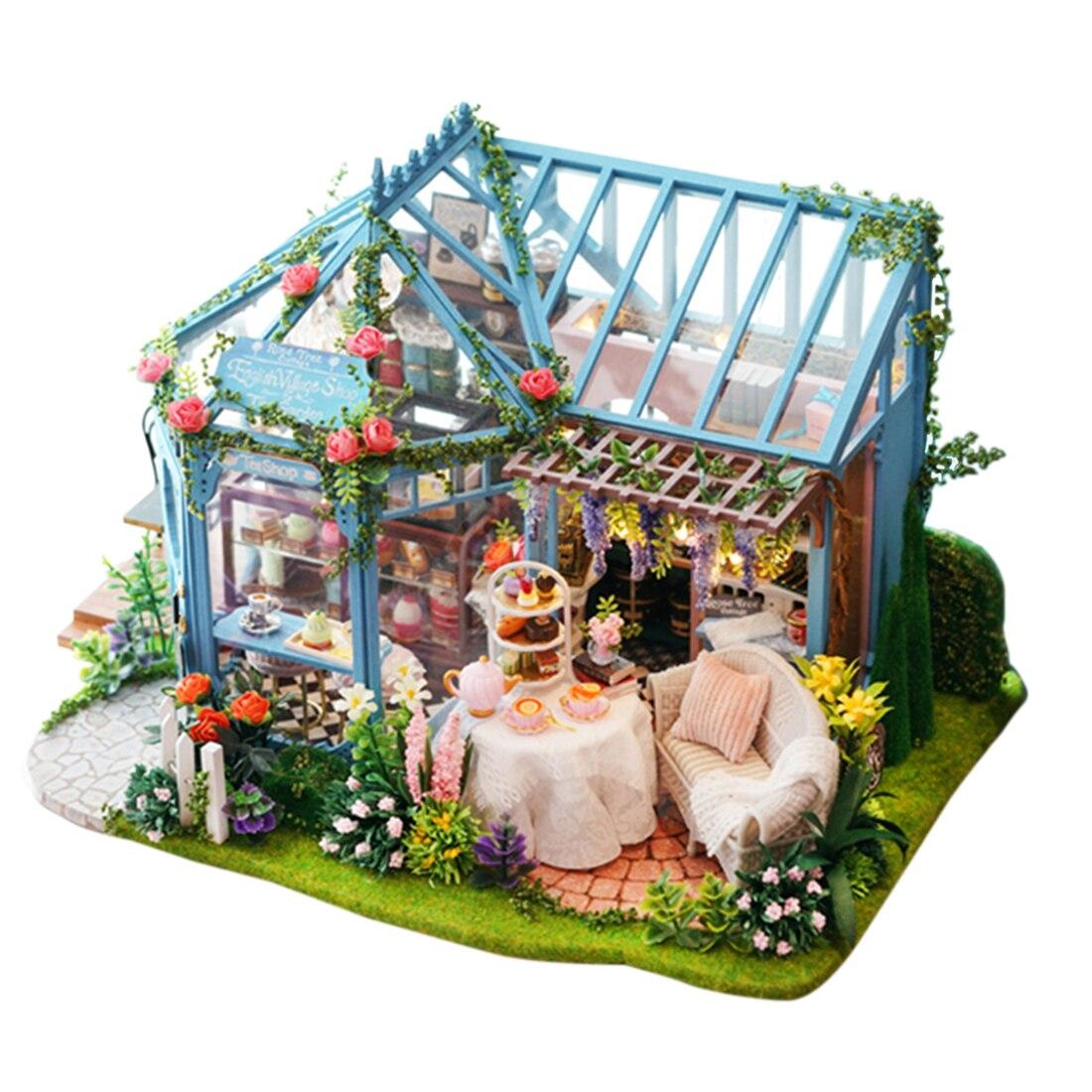 Bricolage cabine jouet modèle ensemble en bois Rose jardin thé maison artisanat à la main assemblée maison modèle cadeau avec musique légère et couverture de poussière