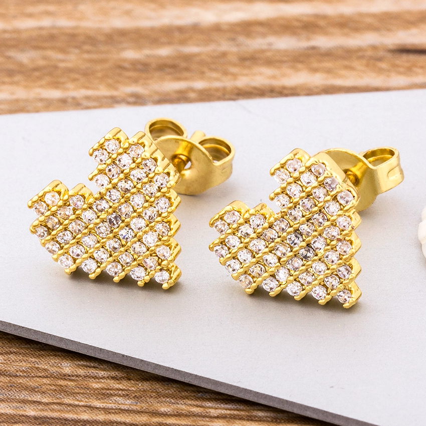 Hot Sale Trendy Copper Zirconia Heart Earrings Gold Stud CZ Crystal  Jewelry For Women Love Wedding Party Birthday Romantic Gift