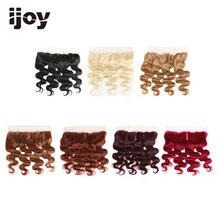 """Cheveux humains avec 4x13 dentelle frontale # 1B/4/27/30/33/99J/bourgogne 8 """" 20"""" M Non Remy corps vague fermeture brésilienne Extension de cheveux IJOY"""