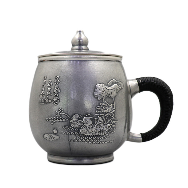 Silver Cup 999 Pure Silver Mug Hand Made Silver Water Cup, Foot Silver Teapot, Side Handle Cup, Silver Teacup