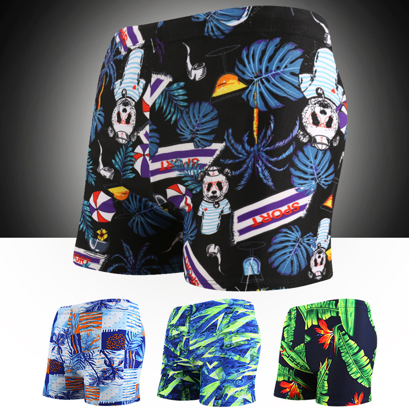 Swimming Trunks Men's Lace-up Boxer Printed Plus-sized Hot Springs Shorts Korean-style Fashion Profession Swimwear Yk48880