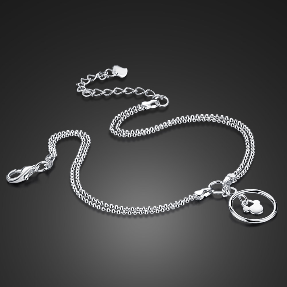 New Cute mickey charm Anklet for women 100% 925 Sterling Silver Bracelet on a leg Fashion foot chian 27cm Girl Jewelry Gift