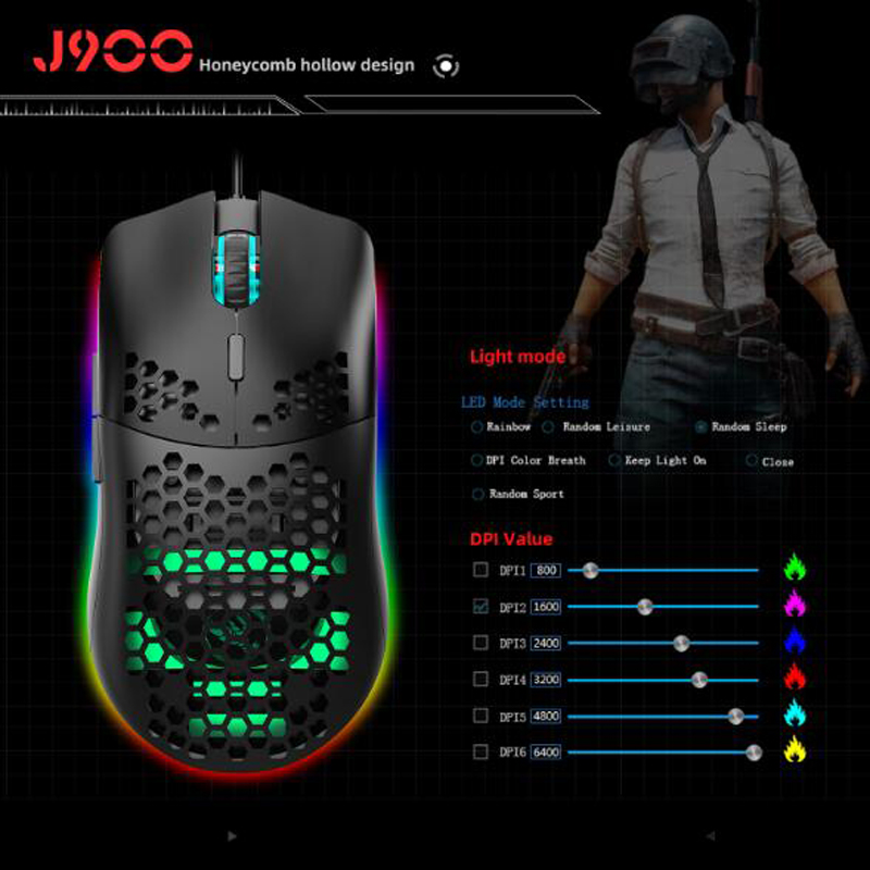 Hole mouse RGB luminous macro programming game mouse 6-key turn off the lights to support a variety of wired mice giá rẻ