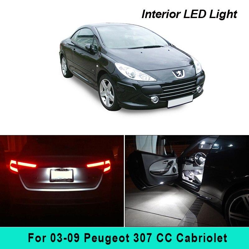 10 шт., ксенон, белый светодиод, полный комплект освещения для салона для 2003-2009 Peugeot 307 CC кабриолета, карта, купол, багажник, подсветка номерного...