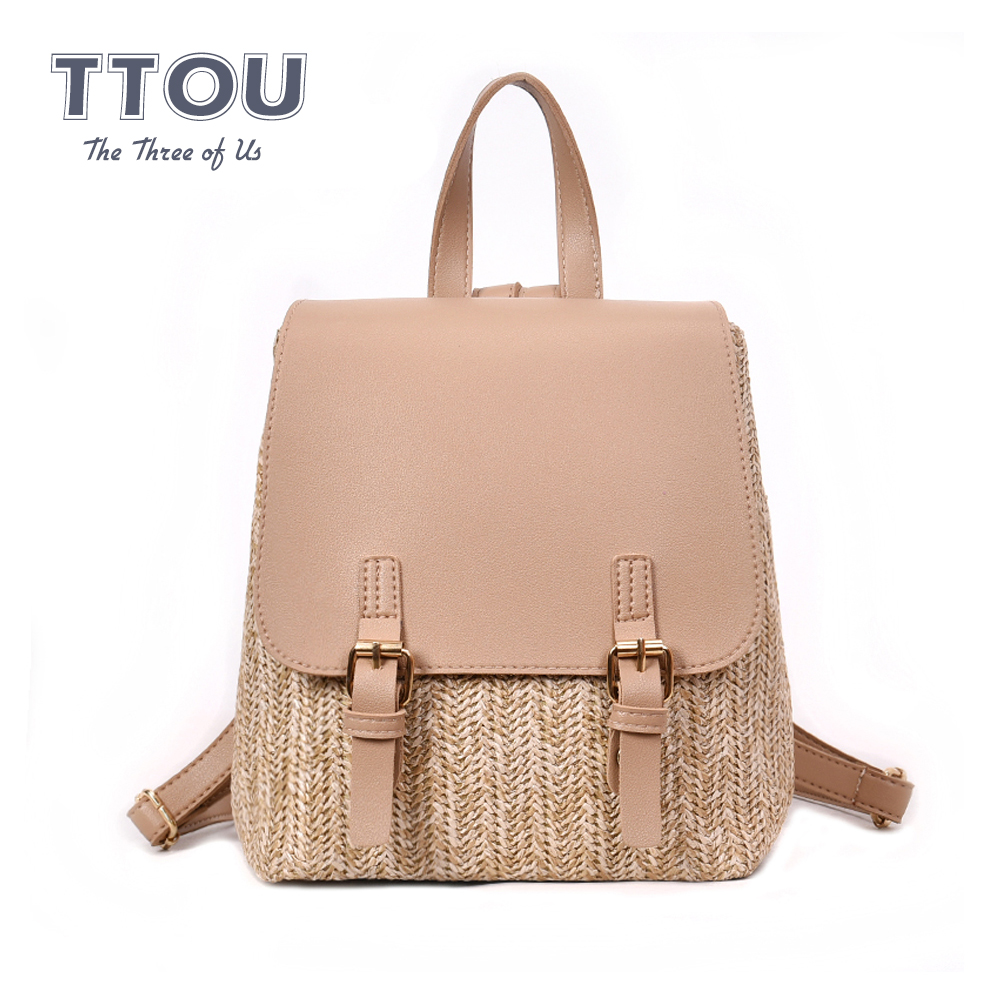 TTOU Fashion Women Straw Woven Backpack For Teenage Girl Quality Summer Beach Backpacks Holiday Ladies Travel Bag Books Rucksack