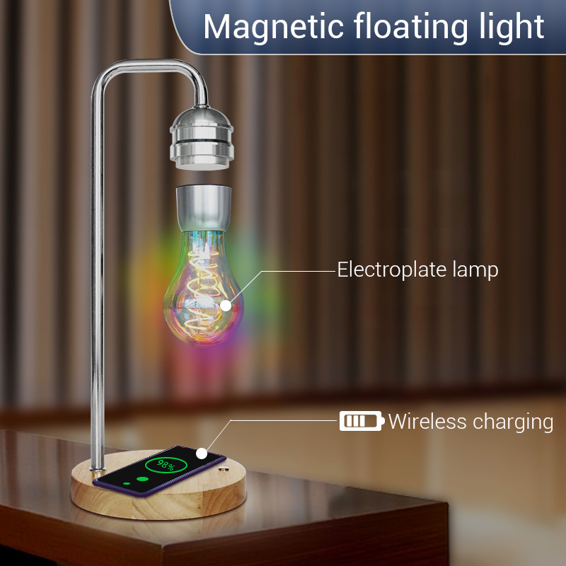New Novelty LED Magnetic Levitation Bulb Hover Floating Desk Lamp Magic Black Tech Wireless Charger For Phone Christmas Gift