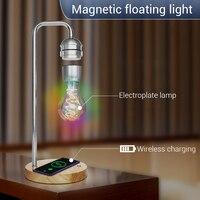 New Novelty LED Magnetic Levitation Bulb Hover Floating Desk Lamp Magic Black Tech Wireless Charger for Phone Christmas Gift