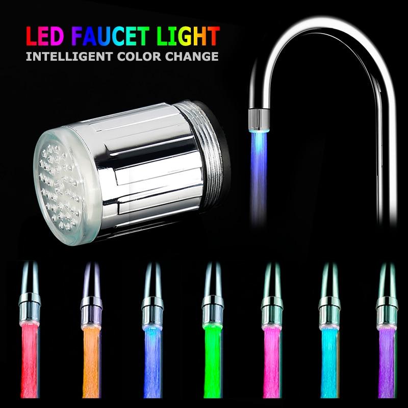 Creative 3 Style Temperature Sensor LED Light Faucet Smart Faucet Kitchen Bathroom Faucet Miniature Luminous Faucet+ Adapter