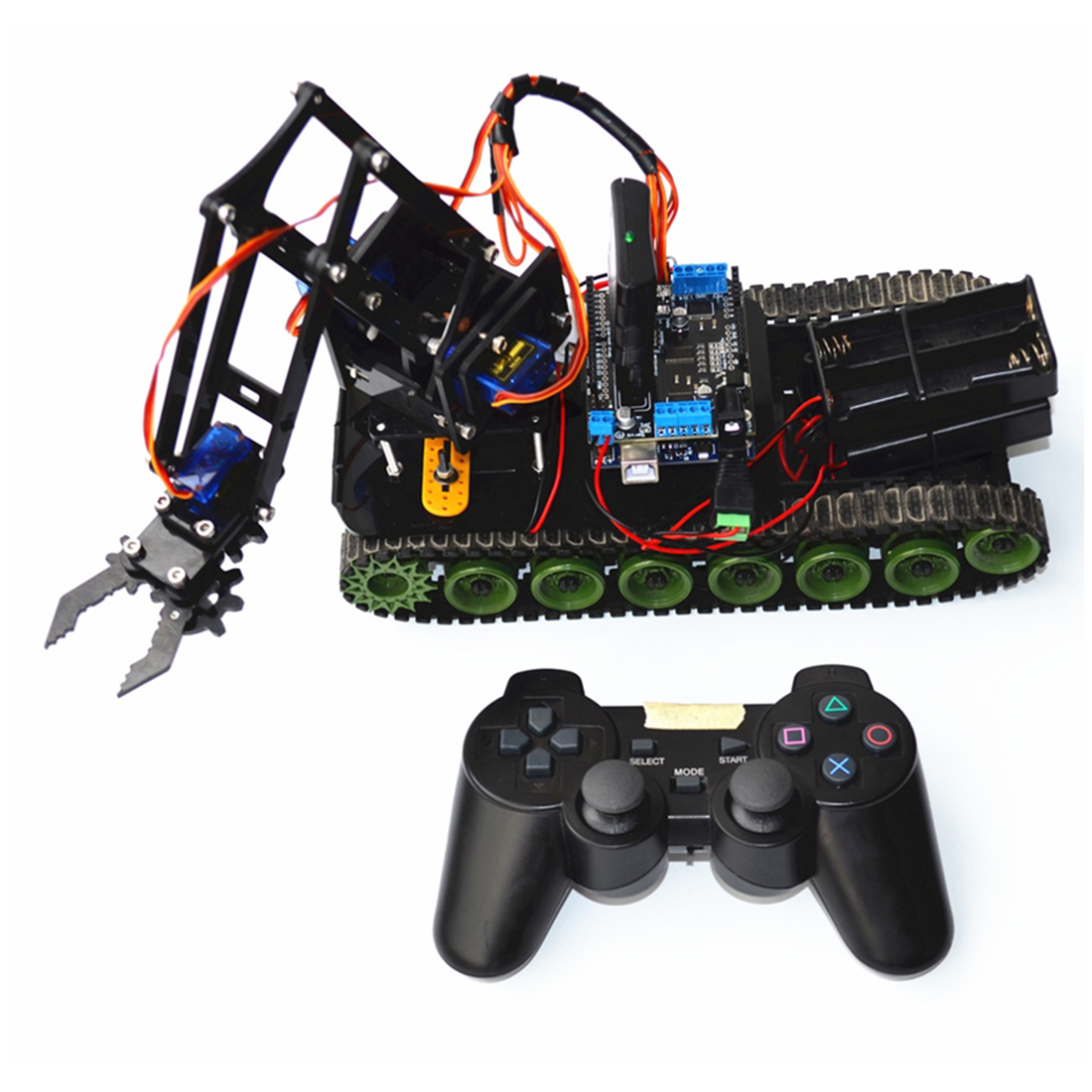 2020 New DIY Programmable Tank Mechanical Arm Robot Kit For Arduino