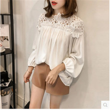 Spring Autumn Chiffon Maternity Blouse Lace Stitch Blouse Shirt Clothes for Pregnant Women Tops Pregnancy Clothing Plus Size chiffon blouse sexy shirt women tops and blouses ruffles summer autumn shirt casual female chiffon blouse clothing plus size
