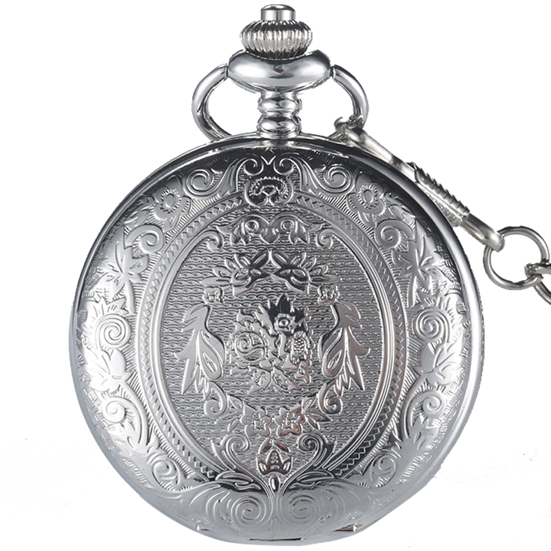 Retro GOBREN Roman Numerals Silver Plated Carving Pocket Watch Fashion Classical Men's Analog Quartz Watch Fob Chain With Box