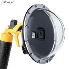 SOONSUN 6 Subacquea Diving Cupola Porta Lente con Custodia Impermeabile Caso di Trigger + Float Bobber Maniglia per GoPro Eroe 8 nero