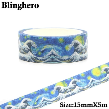 CA166 Van Gogh Starry Sky Washi Tape Vintage Adhesive Tape DIY Decoration Sticker Scrapbooking Masking Tape Stationery Sticker ca1434 vang gogh painting art decorative adhesive tape masking washi tape diy scrapbooking sticker label stationery